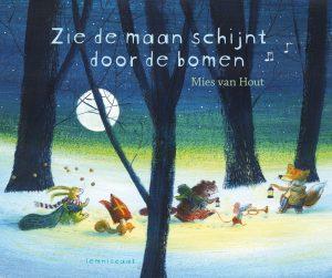 prentenboek zie de maan schijnt door de bomen hout