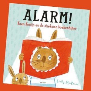 prentenboek Alarm! Koen Konijn en de stiekeme boekenbijter Emily MacKenzie